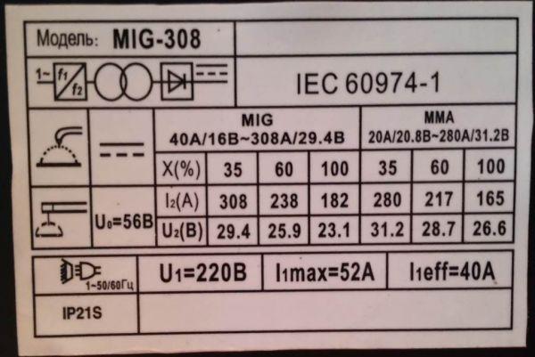 Сварочный полуавтомат Edon MIG/МИГ 308 (+MMA)